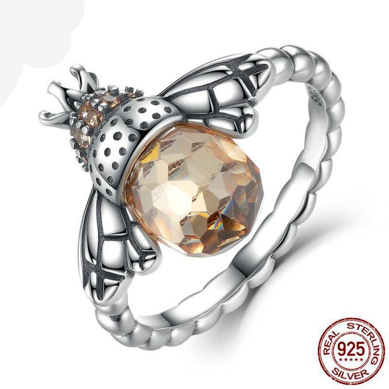 100% Аутентичные палец кольца 925 Sterling Silver Orange Wing животные Bee для женщины ювелирных изделий стерлингового серебра Бесплатной доставки