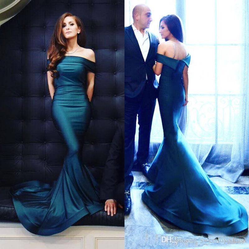 2018 Geogrous weg Schulter-Mermaid-Abend-Kleider mit ärmellosem langem formalem Partei-Kleid nach Maß Vestido