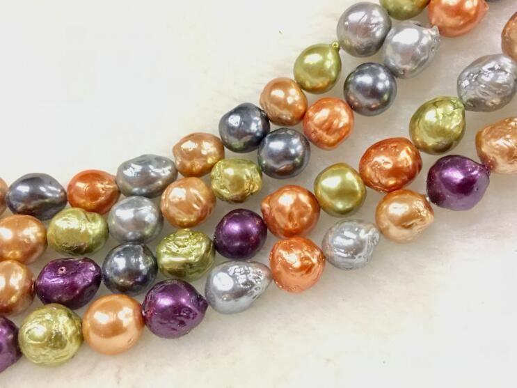 "Natural 14x18mm Multicolor Baroque Edison Reborn Keshi Pearl loose beads 15""AAA"