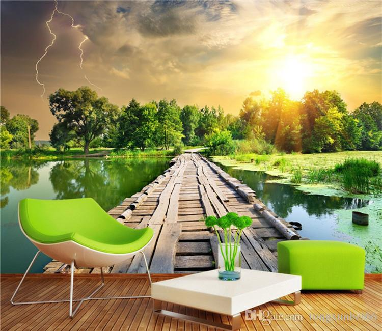 Hawthorn wooden bridge scenery Custom photo wallpaper art wallpaper restaurant retro sofa backdrop 3d wallpaper 3d mural wall paper home dec