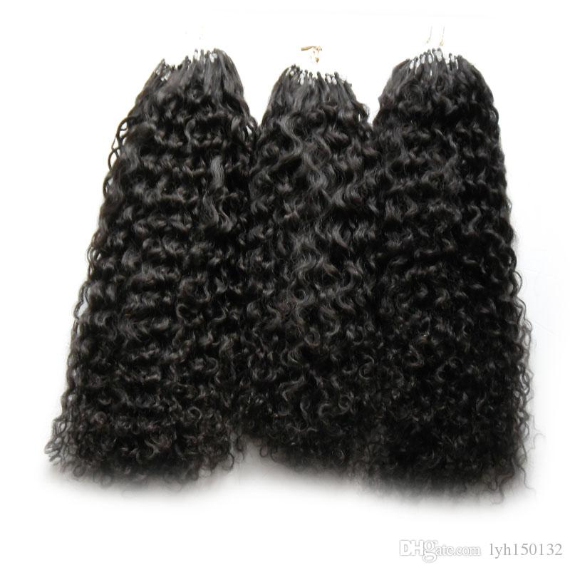 300g Micro Loop Extensões de Cabelo 300S mongol kinky cabelo encaracolado Humano Pro-bonded Micro-Loop Micro Anéis Links Extensão Do Cabelo Humano
