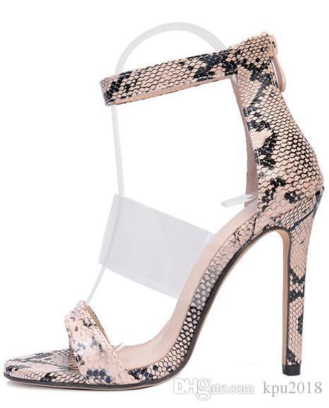 Großhandel Schlange Muster High Heels Sandalen Sommer Transparent PVC Frauen Sandales Rom Knöchelriemen Femme Pumps Von Kpu2018, $28.51 Auf