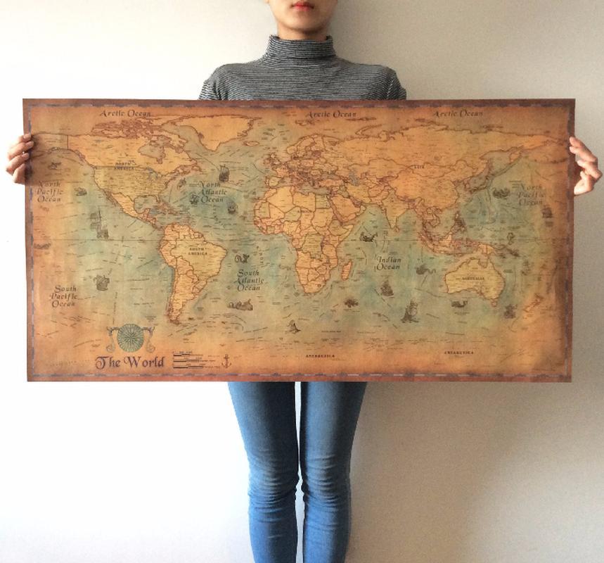Nautique carte du monde Océan rétro vieux papier peinture art Décoration Sticker Salon Poster Café affiche Antique
