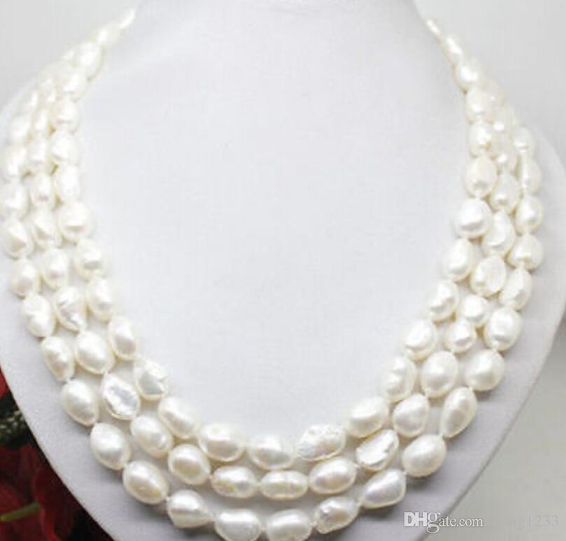 бесплатная доставка 100 дюймов белый жемчуг длинное ожерелье большой барокко бусины 8-9 мм