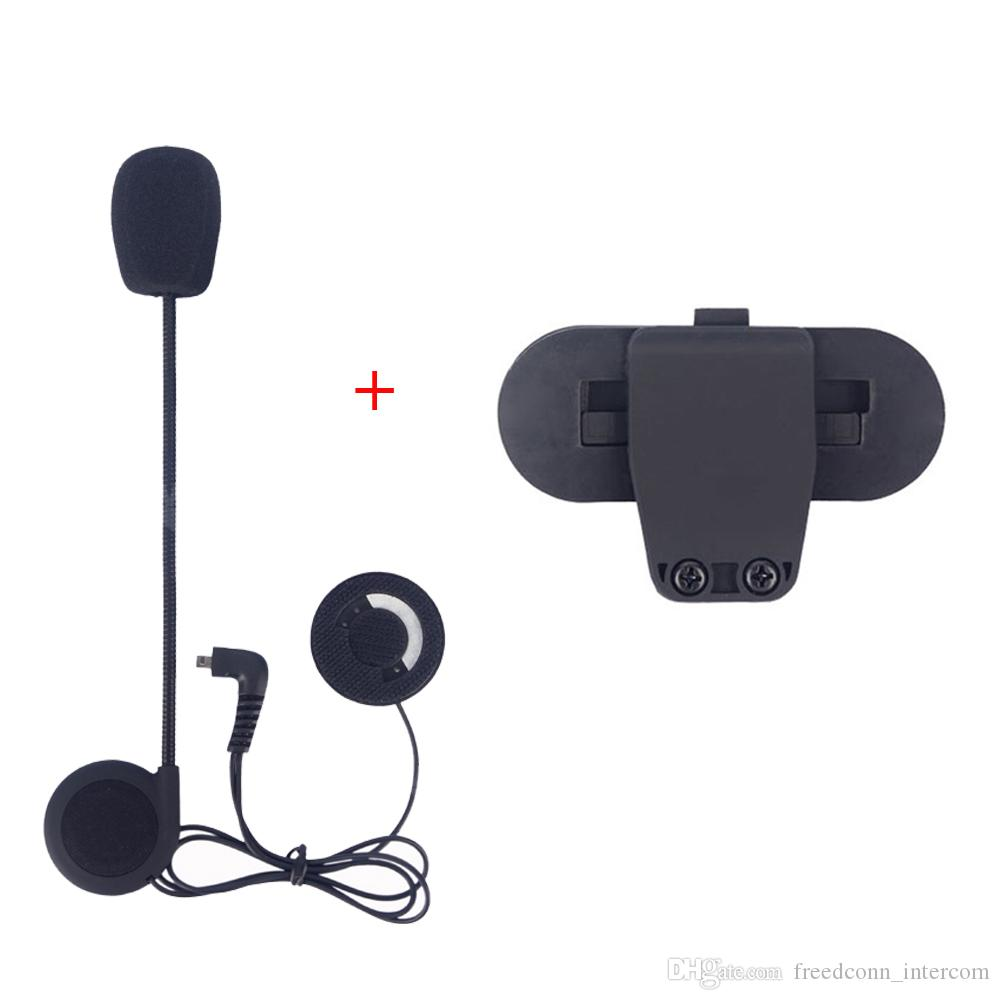 Freedconn Motorcycle Helmet Intercom Accessories Microphone Earphone and Clip Suitable for T-COMVB,TCOM-SC bluetooth Interphone Clip Parts