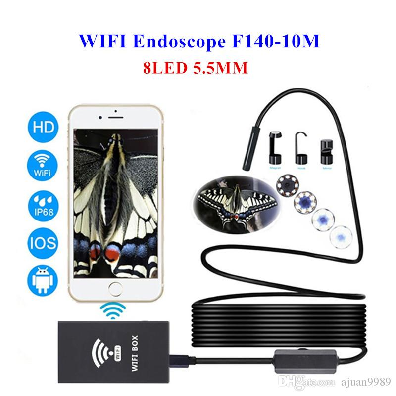 HD 5.5mm WiFi 10M Endoscope Iphone Android Phone Borescope Waterproof Video Inspection Snake Camera Mac Windows Computer