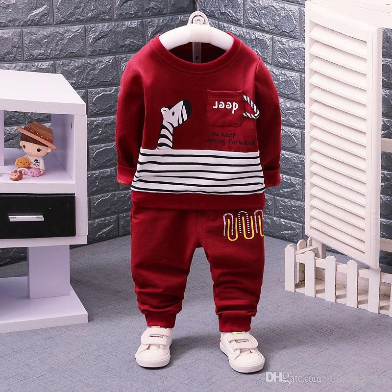 ملابس الأولاد طفل أطفال الدعاوى ربيع الخريف ملابس الأطفال طويلة الأكمام الكرتون زيبرا نمط قمصان طويلة السراويل الصغار مجموعة