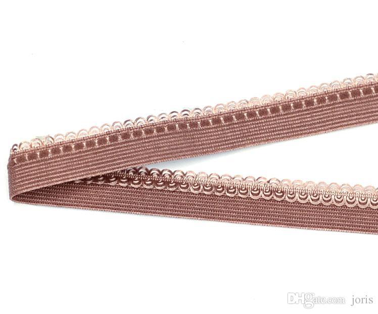 13mm coffee mesh lace Picot Nylon webbing knitted elastic ribbons trim fabric woven high quality wide swimwear straps custom CS22991-13