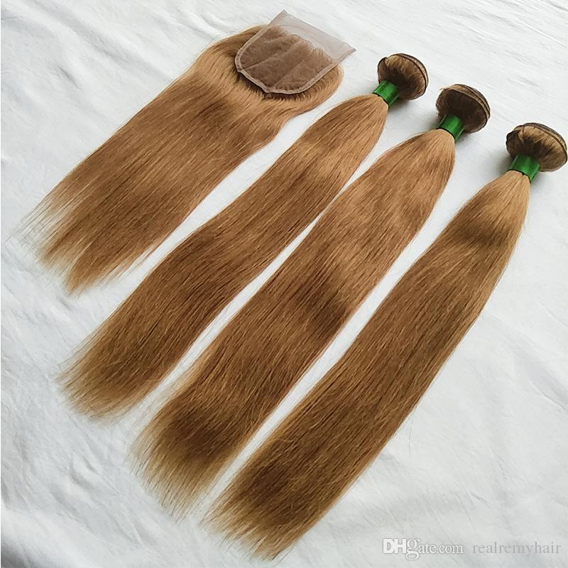 Color 30# Peruvian Straight Hair 3 Bundles With Closure New Arrival Peruvian Honey Blonde Remy Human Hair Weave Bundles With Lace Closure