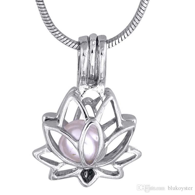 5 Adet / grup Lotus şekli Kolye Küçük Charm kaplama Gümüş Hediye Aşk Isteyen Isteyen istiridye İnci Lotus Kafesi P47