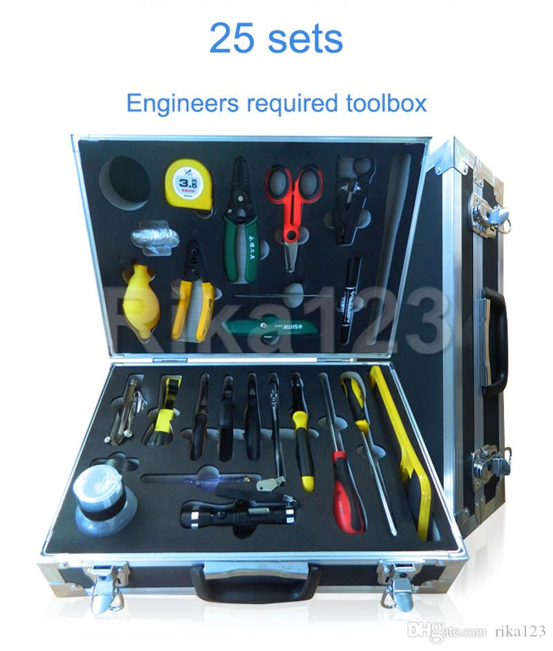 FTTH Tools Kit 25set High Value Fiber Optic FTTH Tool Kit with Stripper and Kevlar Scissors and Wire Cutting Pliers