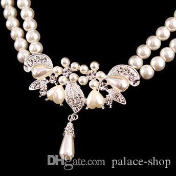 haute qualité à faible prix merveilleux ensemble collier de mariage de cristal de diamant boucles d'oreilles (22) rrytyt