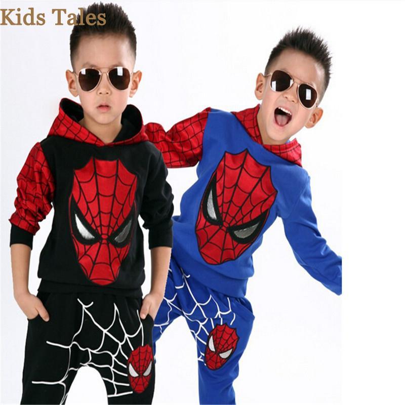 2 Unids / 1 lote de dibujos animados cool boys hombre araña deportes traje chándal niños conjunto de niños aptos para 3-7y niños costo de fábrica barato al por mayor