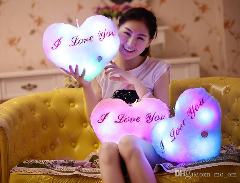 Colorful LED Flash Light Heart Shaped Pillow Plush Stuffed Toys Size 36*30 cm Star Gift For Valentine's Day Gift Stuffed & Plush toy