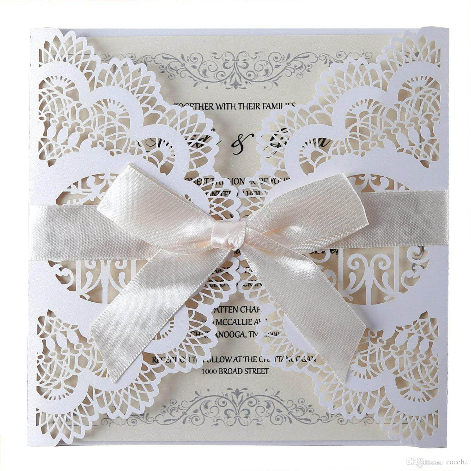 Laser Cut Wedding Invitations Cards With Ribbon Bowknot Lace Flowers Design Blank Card For Marriage Engagement Birthday Party Cheap Beach Wedding