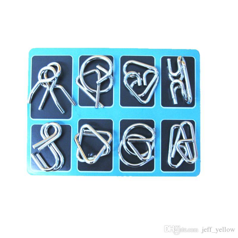 Envío gratis nueve serie de 8 piezas de 8 piezas Solución de rompecabezas Lock Anillo Toys Kong Mingsuo Chino Clásico Juguete Intelectual Todas las edades