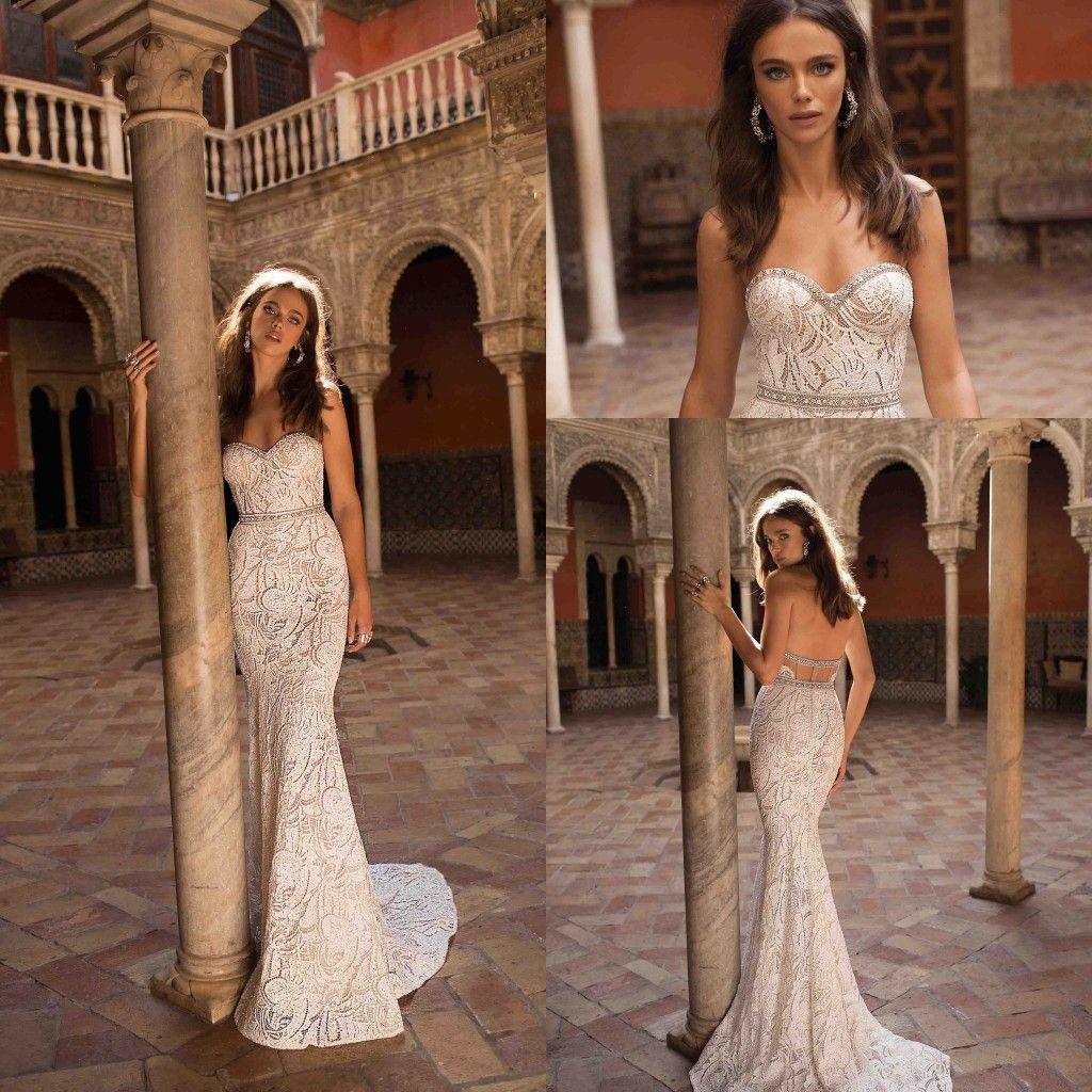 Robes de mariée en dentelle pleine dentelle élégante ma belle-dentelle en dentelle 2019 Berta New Arrival dentelle cristaux de dentelle perlée robes de mariée de mariage