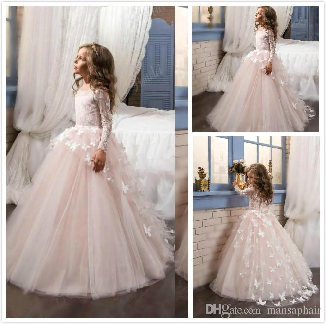Lovely Flower Girl's Dresses New Arrival 2018 Lace Long Illusion Sleeves Jewel Neck Ball Gown Handmade Butterflies Girl's Pageant Dresses