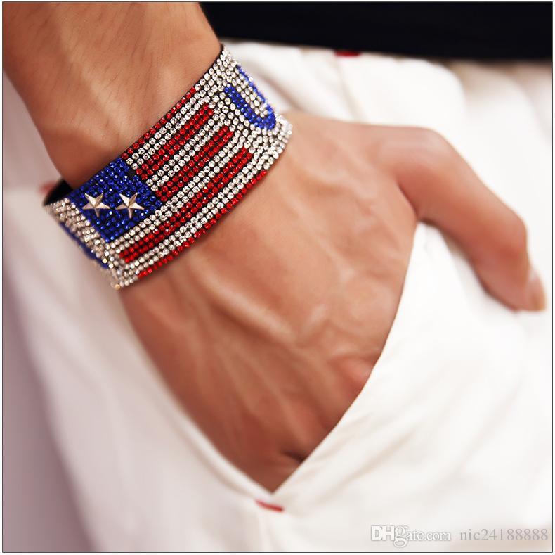 Ventes chaudes Hip-Hop Style Hommes Femmes Bracelets Rap Chanteur USA Drapeau Strass Chaud Drill Mode Discothèque Main Chaîne Bracelet