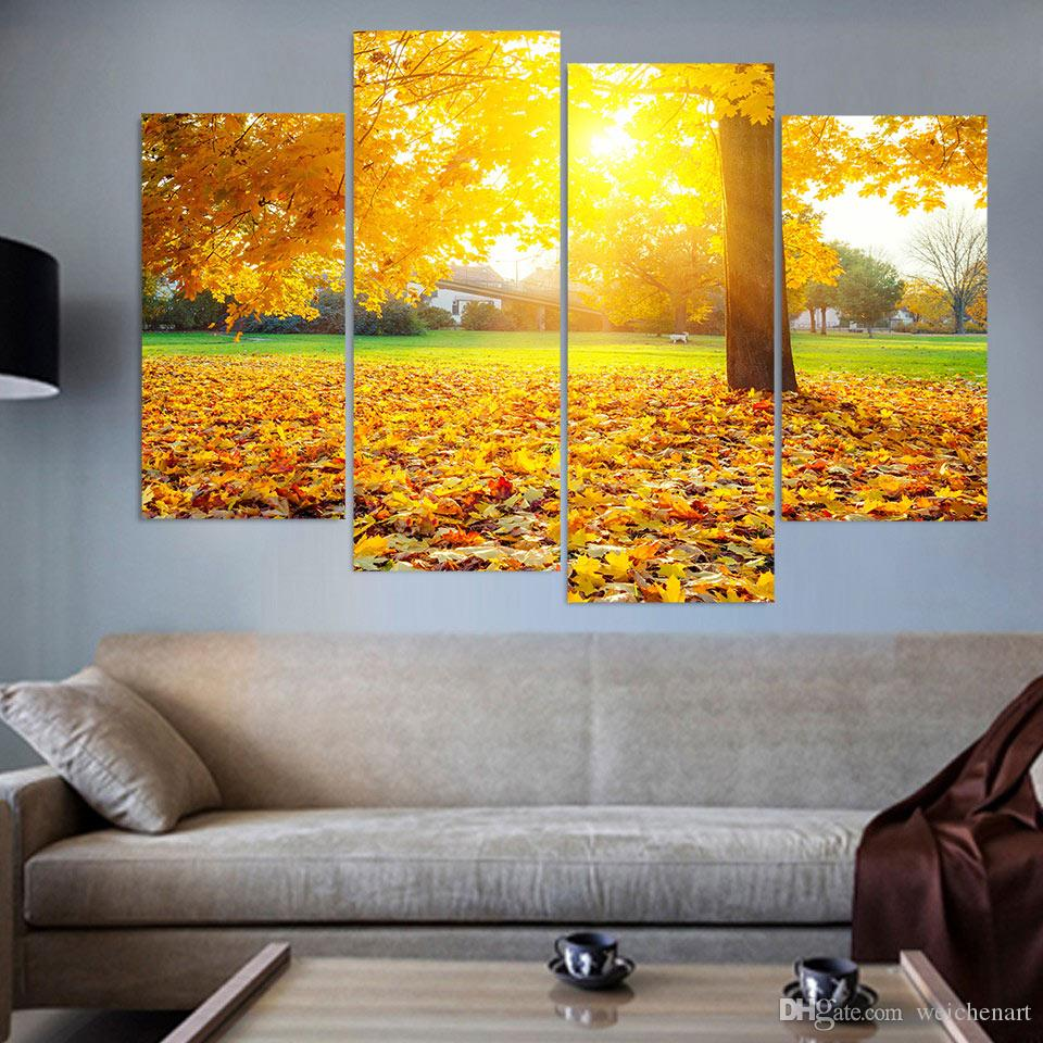4 Pcs Canvas Painting Garden Maple Leafs HD Printed Canvas Art ...