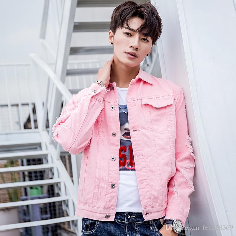 2018 Four Seasons hommes de veste slim hole Tide Casual Denim Veste coréenne de mode en Europe et en Amérique Jeans vent hommes