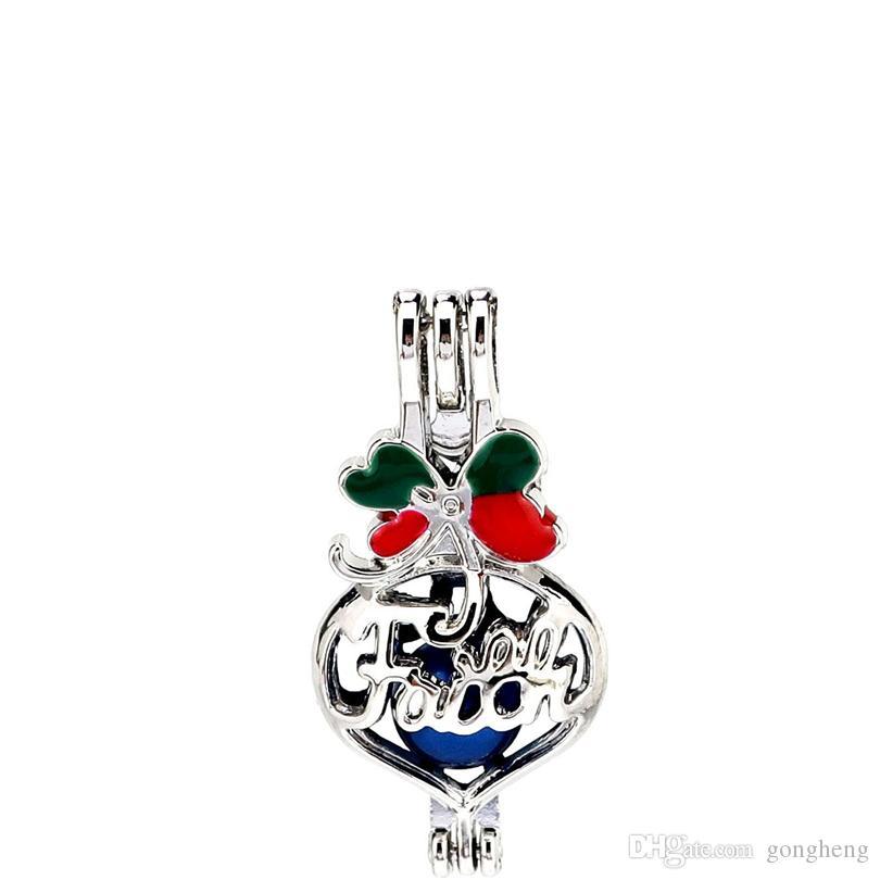 Silber Emaille Herz Glaube Brief Wish Bag Oysters Perle Perlen Käfig Medaillon Anhänger Aromatherapie Parfüm Ätherische Öle Diffusor