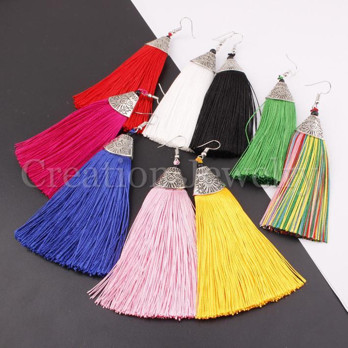 Moda Bohem Stili Kadınlar Küpe Boho Kanca Bırak Dangle Uzun Püskül Fringe Küpe Düğün Takı