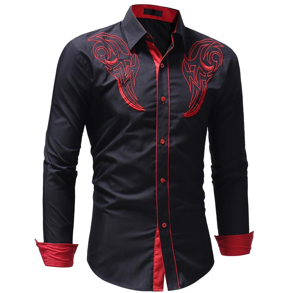 2018 Hommes Casual Shirt Slim Fit Hommes Bouton Casual Broderie Imprimer Vers Le Bas De La Chemise À Manches Longues Formelle Robe Chemises Hommes 3XL