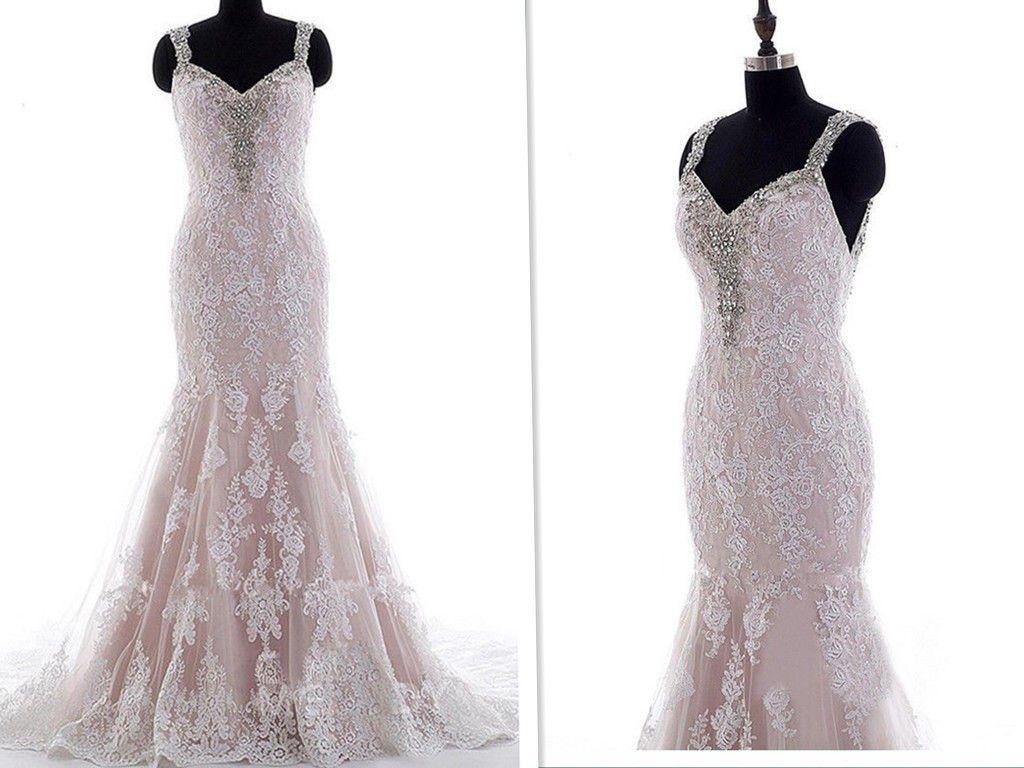 2019 Newesr 인 어 공주 웨딩 드레스 스파게티 스트랩 Backless 레이스 파란색 크리스탈 스윕 기차 Country Style Bridal Gown Custom Hot Sale