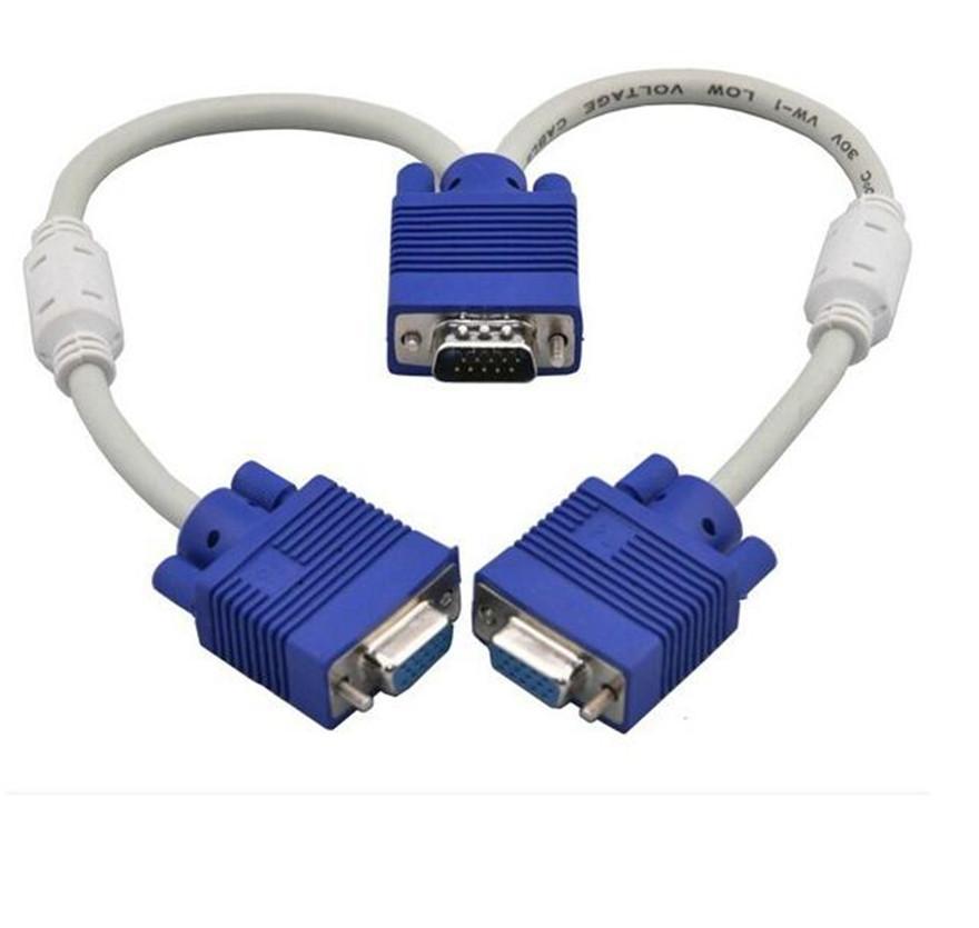1 جهاز كمبيوتر إلى 2 مراقب ثنائي طريقة الفيديو VGA SVGA الجرافيك LCD TFT Y الفاصل كابل الرصاص VGA 15pin 1 إلى 2 3 + 6 جديد