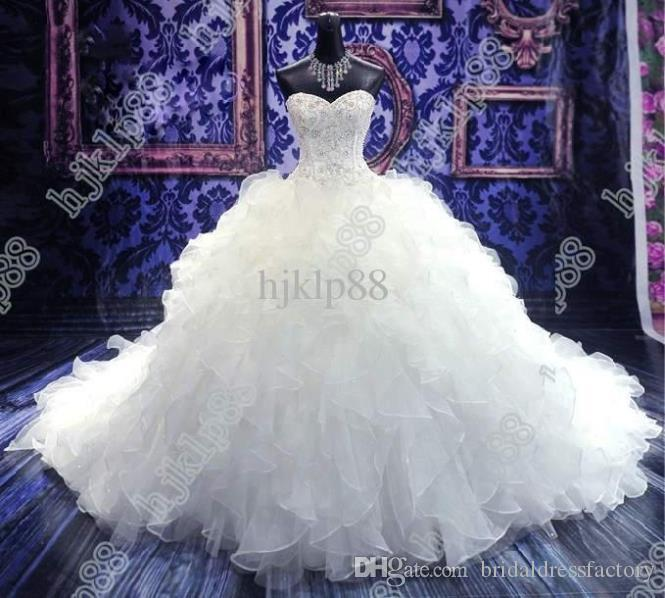 free shipping 2018 cathedral sweet wedding gowns Luxury Royal Puffy Catherdarl Train beaded Wedding Dresses Bridal Gowns Organza
