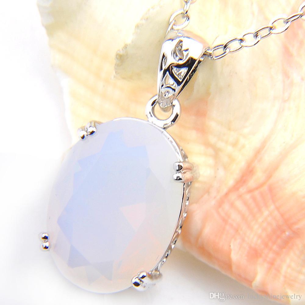 Encantos de plata de la joyería del banquete de boda de la vendimia LuckyShine óvalo blanco piedra lunar para mujer Colgantes colgantes del collar