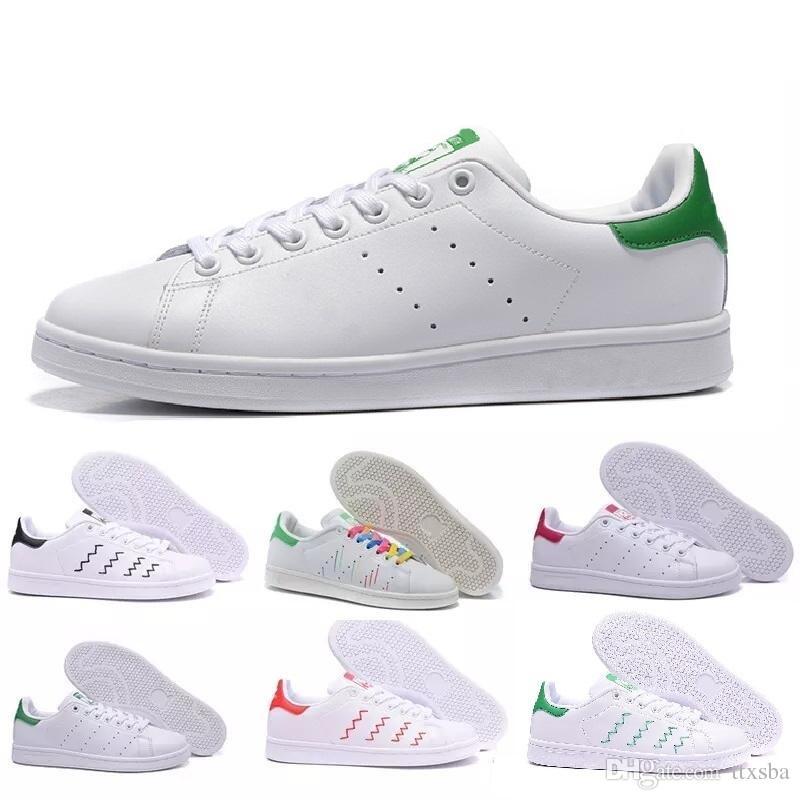 العلامة التجارية ستان سميث الخضراء الجديدة بالجملة كلاسيكي المدى أحذية أحذية جديدة ستان سميث الأزياء أحذية رياضية عارضة جلد الرجال والنساء الرياضة المدى الحذاء