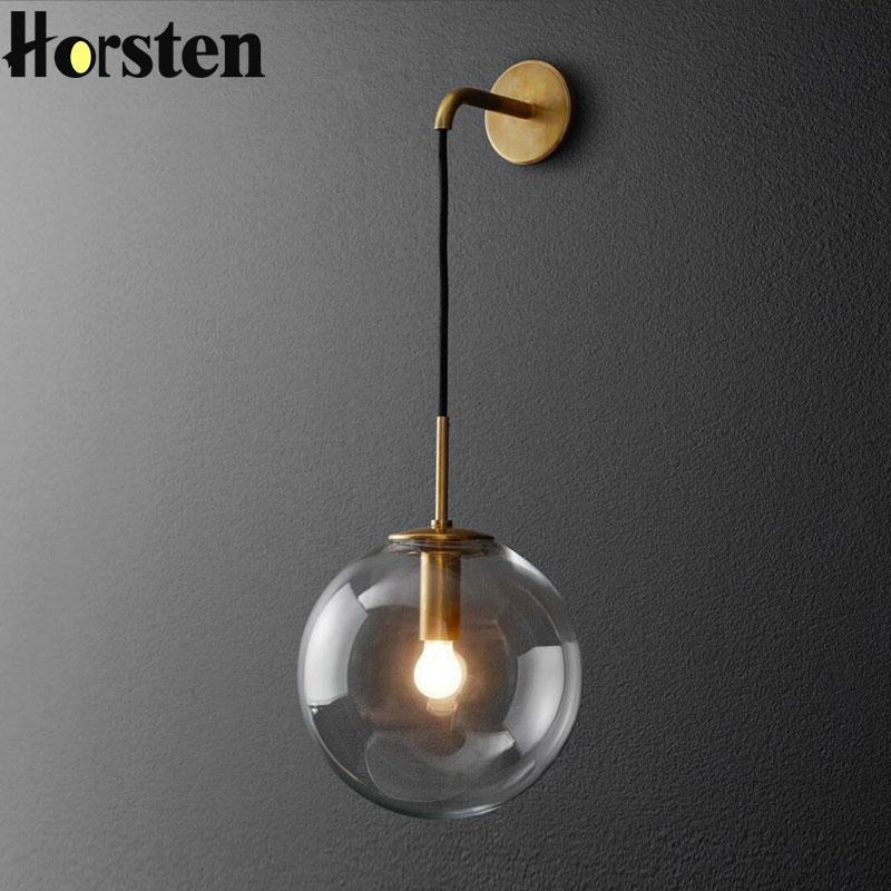 Нордический после современный светодиодный настенный светильник творческий зеркало стеклянный шар прикроватные настенные светильники старинные освещение для гостиной Декор Гема