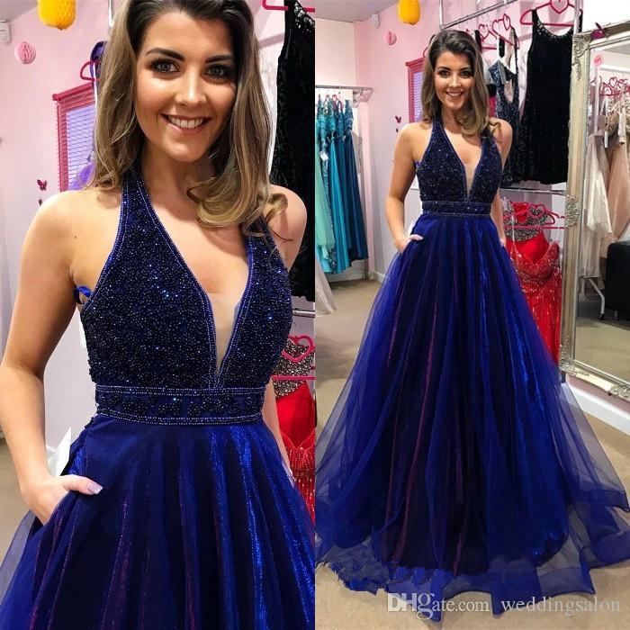 Blu royal A Line Prom Dresses Halter Scollo a V Perline Lunghezza del pavimento Abito da sera Backless Organza Abiti da festa