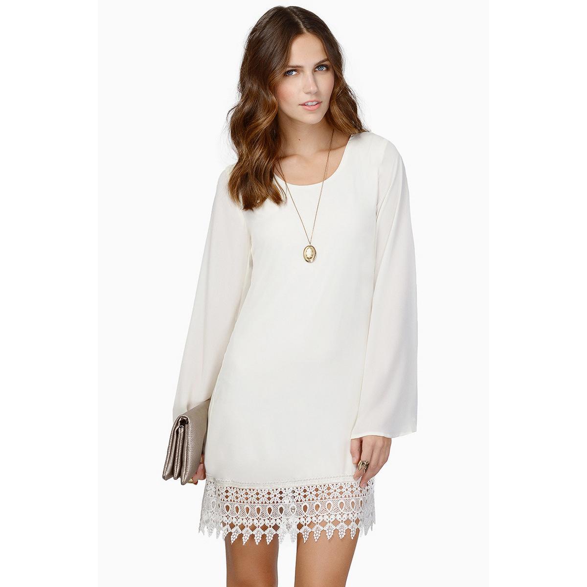 2018 Women Plus Size Chiffon Loose Dress Long Sleeve O Neck Contrat Frill  Mini Dress MT1024 All White Maxi Dress Cute White Summer Dresses From ...