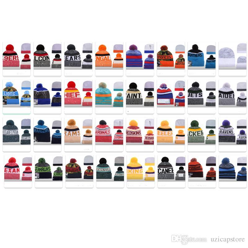 Büyük indirim! Kış Beanie Örgü Şapka Spor Takımları Beyzbol Futbol Basketbol Beanies En Yeni Kadın Erkek Pom Moda Kış Üst Caps Caps