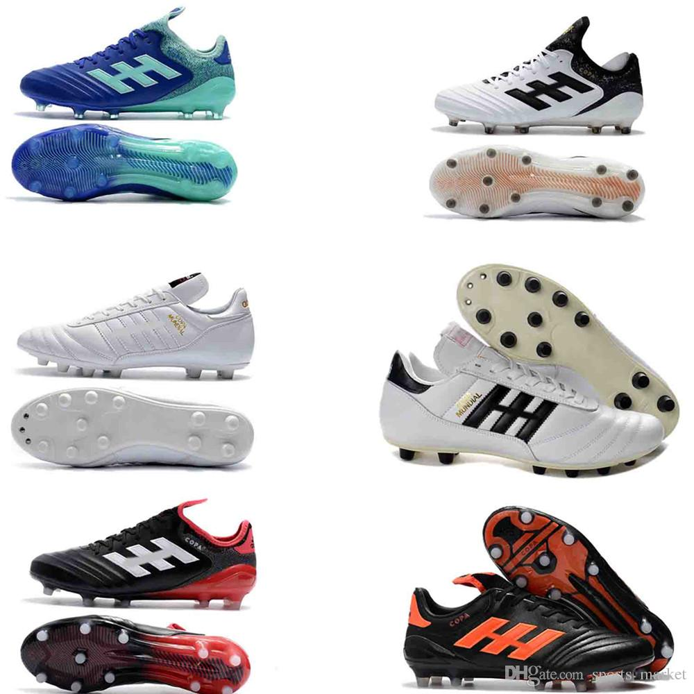 Acheter 2018 Pas Cher Blanc Football Football Taquets Copa Mundial FG Chaussures De Foot Coupe Du Monde En Cuir De Football Tacos De Futbol Nouvelle