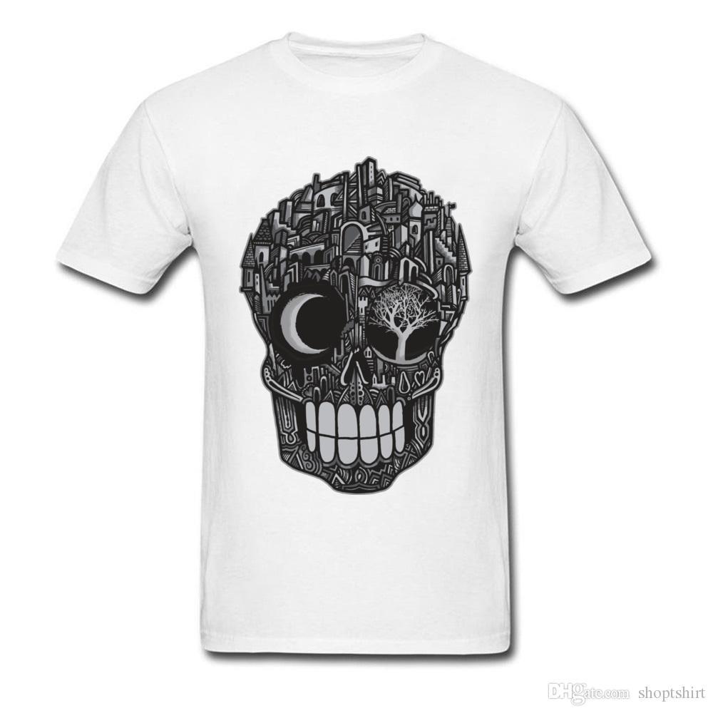 남성 탑 T 셔츠 면화 직물 레저 두개골 구조 도시 죽음의 참신 Tshirt 3D는 남성을위한 짧은 소매 O - 넥 티에 인쇄