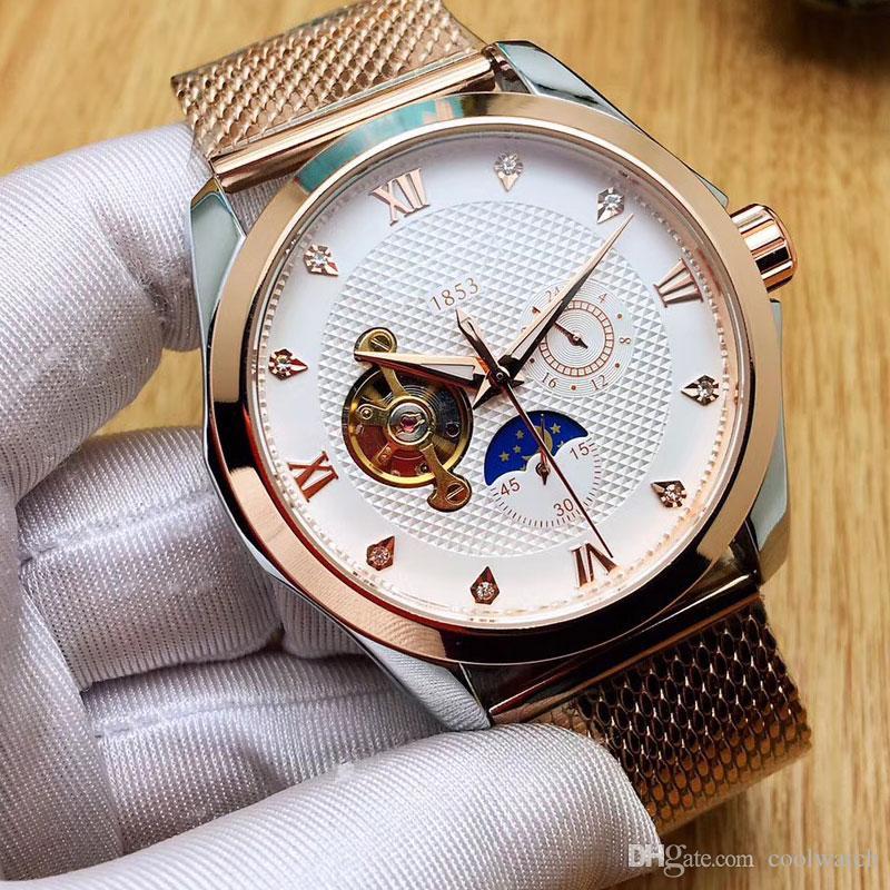 Najlepsza qualityl Mężczyźni Zegarki 43mm Dial Mechaniczne Automatyczne Pełna Zegarek Ze Stali Nierdzewnej Dla Mężczyzn Wodoodpornych Wristwatches Relogio Masculino