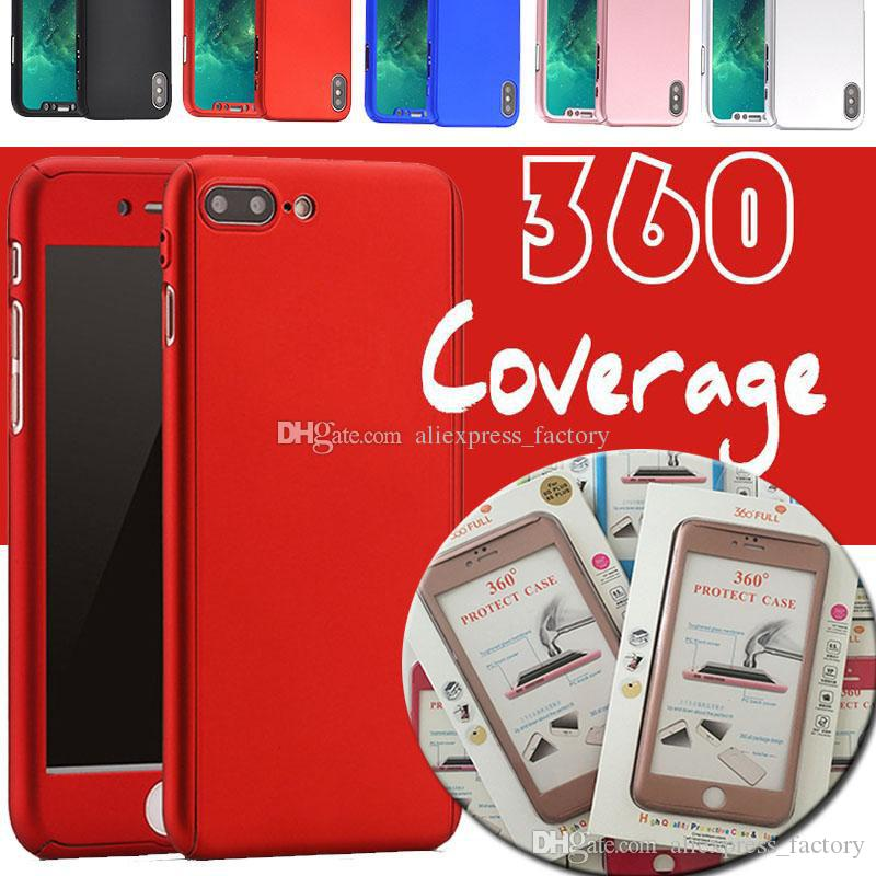 360 grau caso de corpo inteiro rígido pc tampa completa de vidro temperado para iphone xs max xr x 8 7 6 plus 5 s5 nota s9 s8 s7 s6 s6 com caixa de varejo