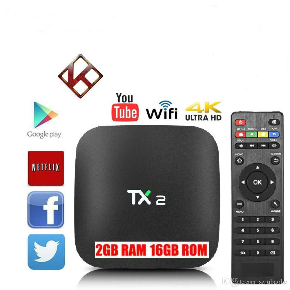 Smart TV Box Android TX2 2GB 16GB Rockchip RK3229 Quad Core Wifi 4K Ott Tv  Boxes Better Tx3 Mini Mxq Pro Smart Tv Box Wifi Stream Tv Box Xbmc From