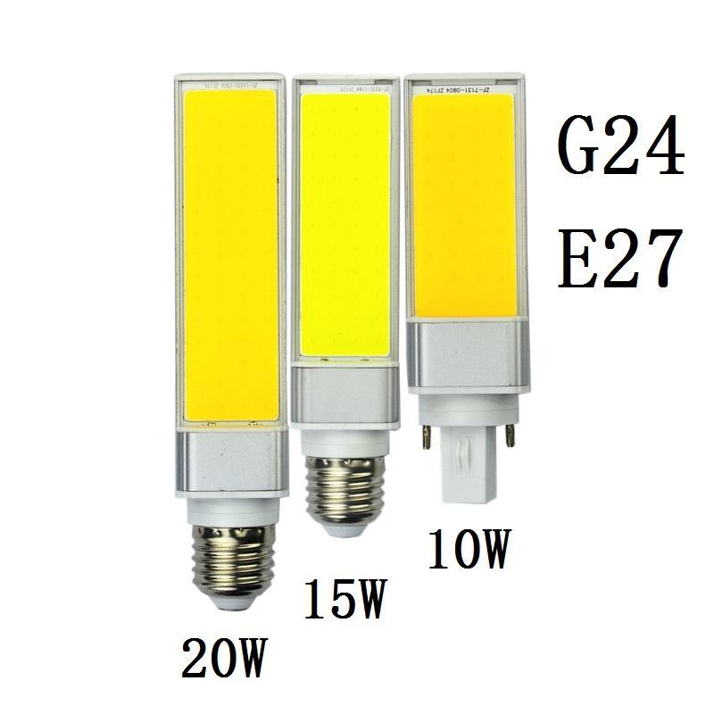 Lampada E27 G24 10W 15W 20W SMD COB AC85V-265V Lámpara de enchufe horizontal Cálido Bombillas blancas Led PL Bulbo de maíz 180 grados Punto de luz