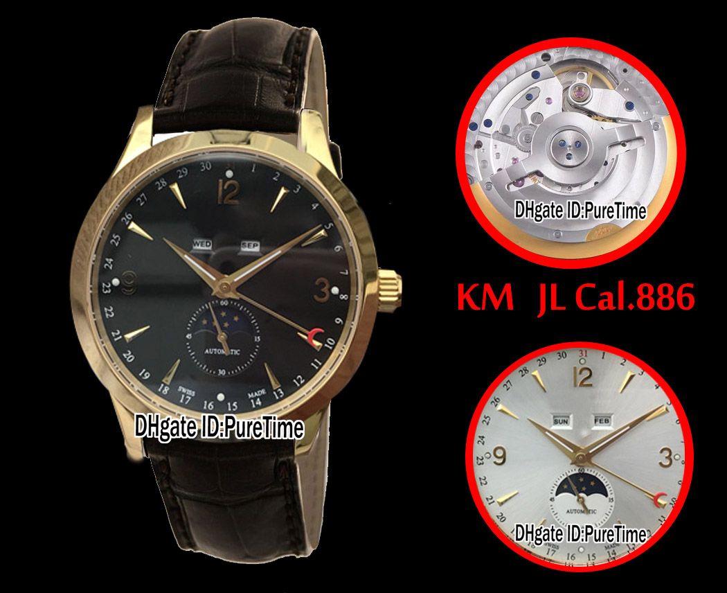 Najlepsza edycja KM Master Kalendarz 1558420 Żółty Gold Black Dial ETA CAL.886 Automatyczne męskie zegarek Puretime (poprawna faza księżyca) jl6
