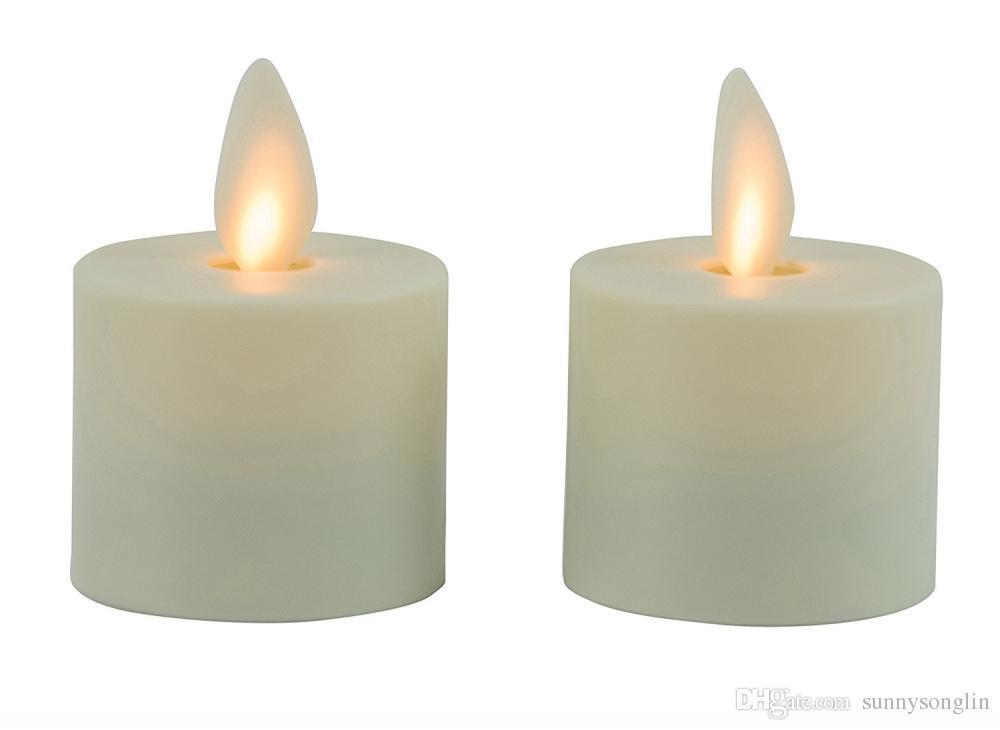 "2PCS / SET Luminara Tea Lights BATERÍA SIN LLAMAS Velas Led Marfil 1.44 ""x 1.25"" w / Temporizador automático con control remoto para bodas"