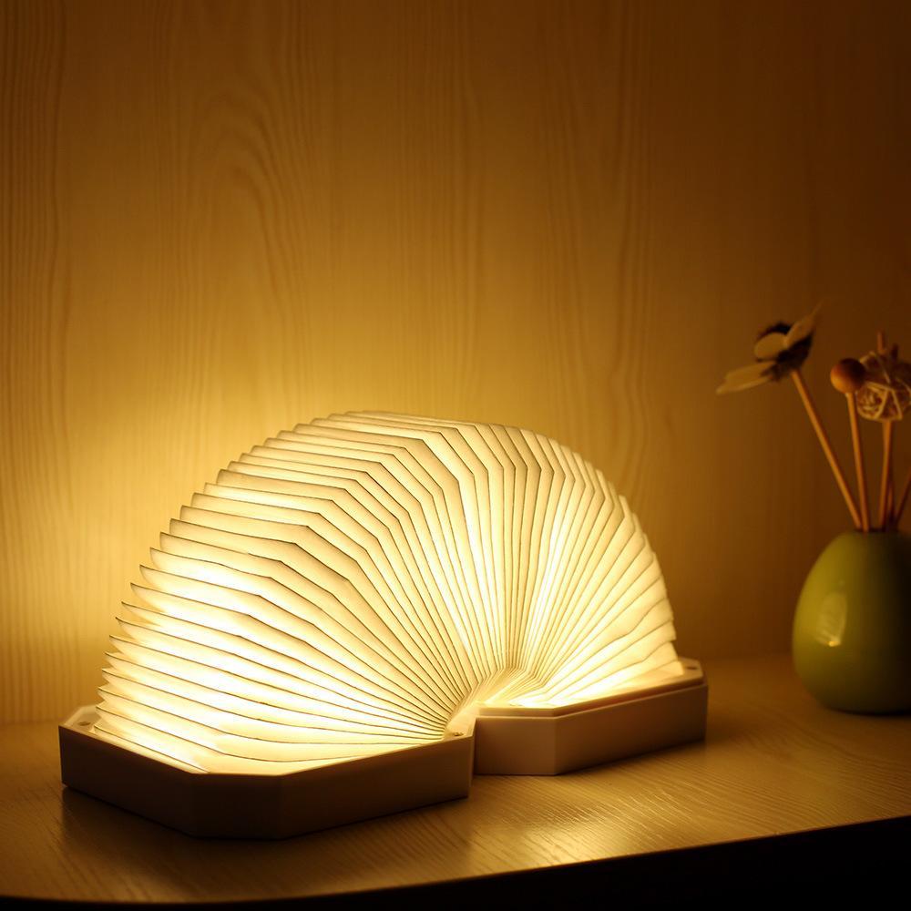 Accordéon Bluetooth livre haut-parleur sans fil HD Lumières LED 3W Charge Jaune Blanc Lampe LED Lampe de bureau Lecteur de musique DuPont Paper Night Light