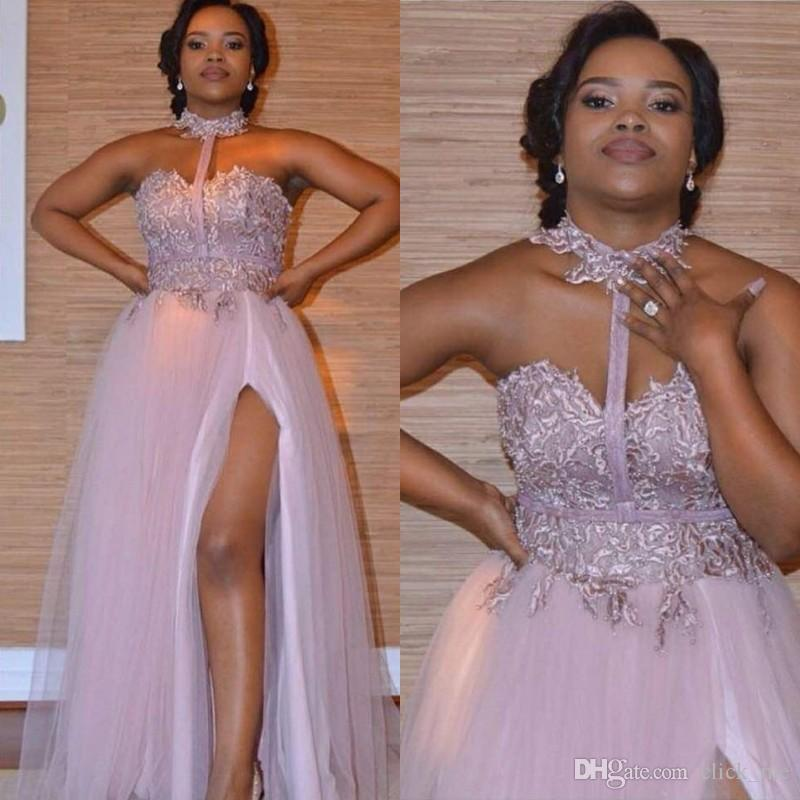 Dusty Pink Halter Prom Dresses Sweetheart Lace Appliques Side Split Evening Gowns African Vestidos Cheap Maid of Honor Bridesmaid Dress