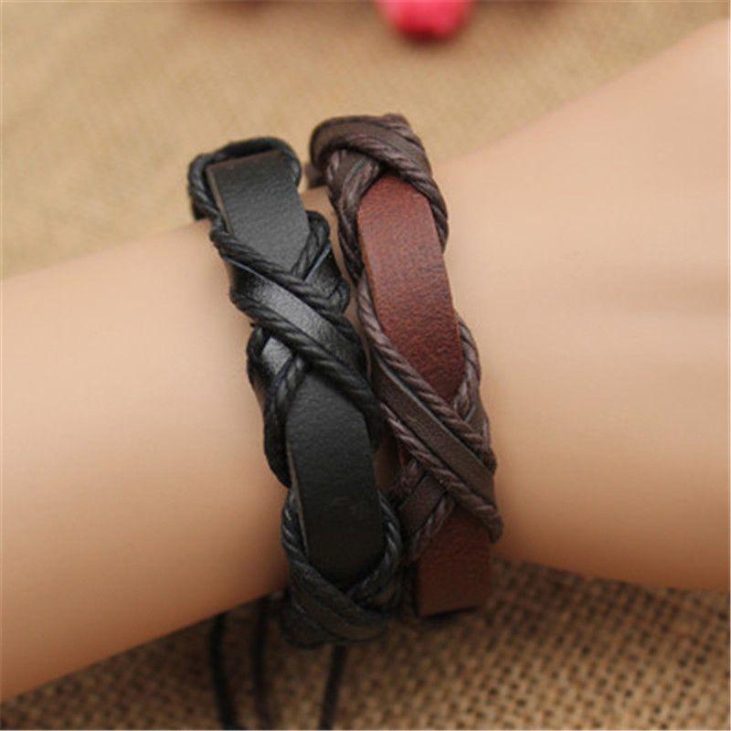 Genuine Leather Braided Bracelets Punk cross Hemp Lover's Wristband Men's Handmade New Arrival women Fashion Factory price KKA1902