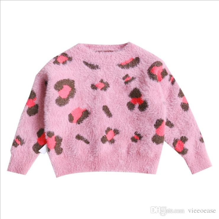 Vieeoease Girls Sweater Christmas Pullover 2018 Autumn Winter Fashion Knitting Long Sleeve Leopard Sweater Girls Clothing EE-1030