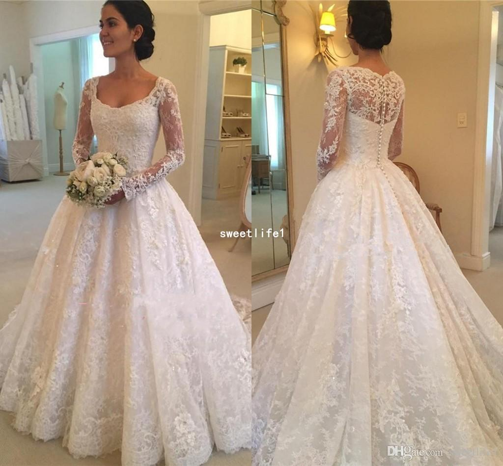 Squared Puffy Buttons Bridal Gowns 2019 Elegant Court-Train Long-Sleeve Lace Wedding Dress A Line Appliques Sweep Train Garden Outdoor Style